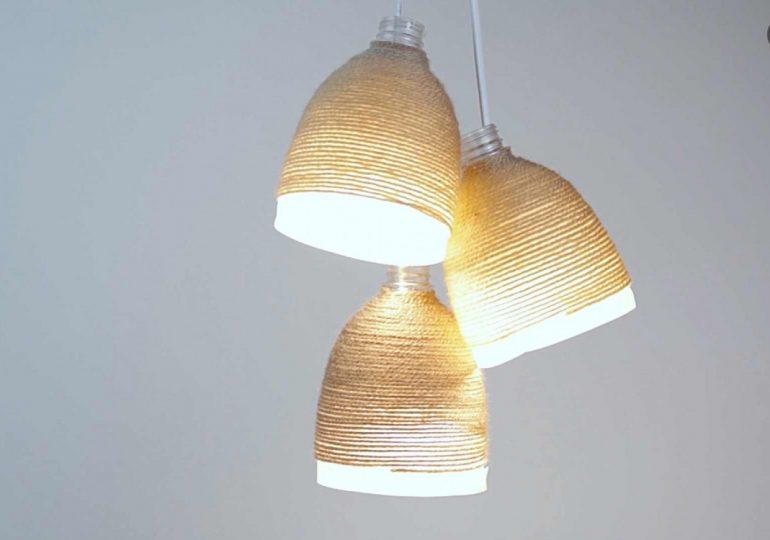 Cómo hacer una lámpara con botellas de plástico