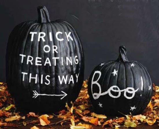Calabaza Halloween decorada con pintura