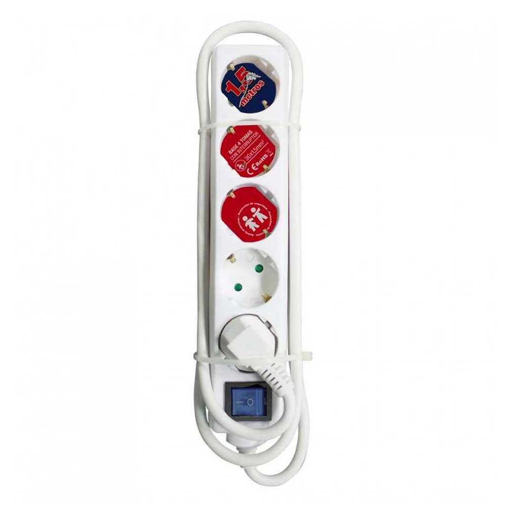 Regleta 5 Enchufes Schuko 1,5m Blanco con Interruptor Azul 7hSevenOn Elec