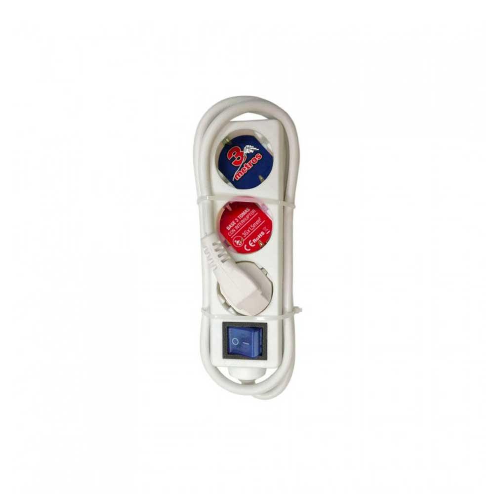 Regleta 3 Enchufes Schuko 3m Blanco con Interruptor Azul 7hSevenOn Elec