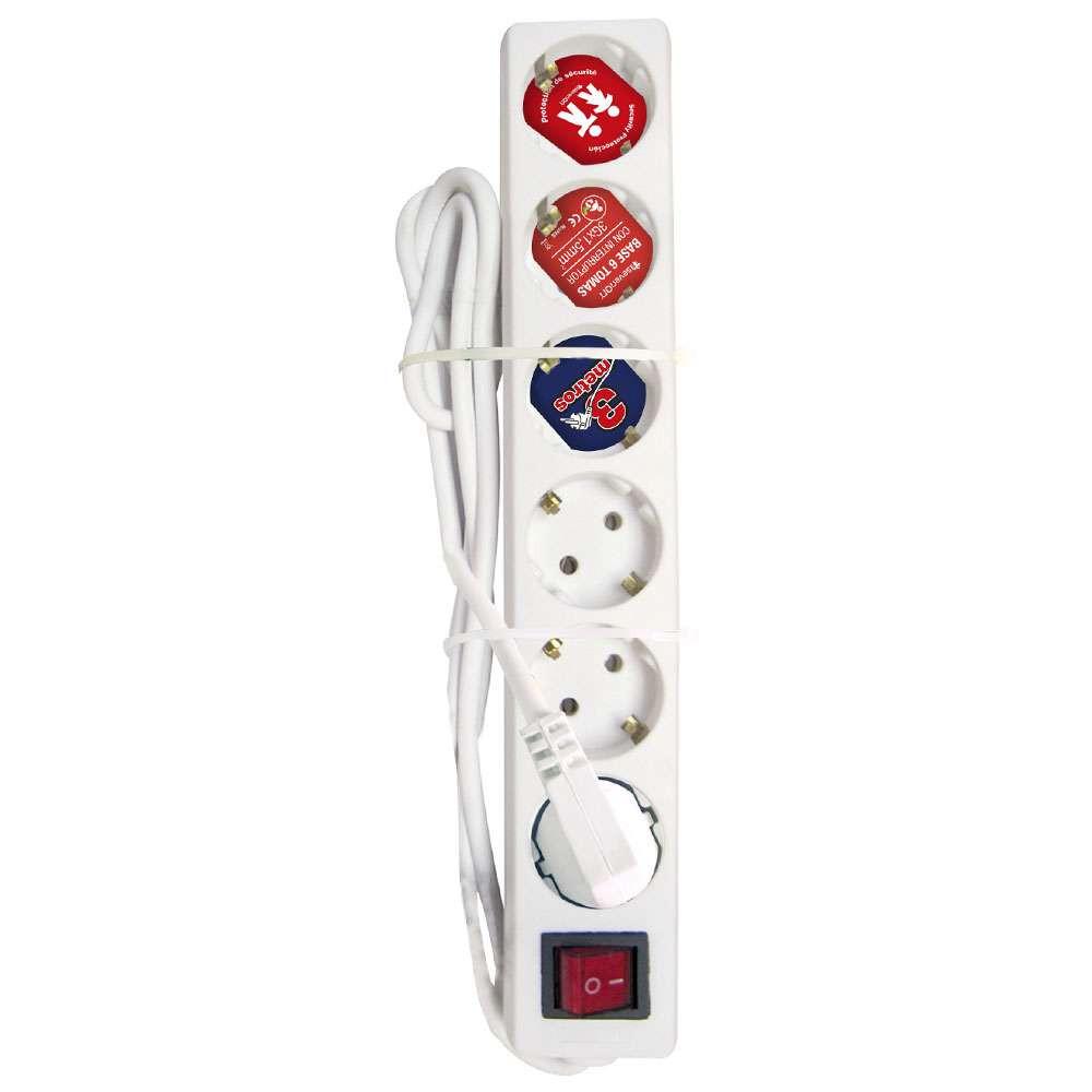 Regleta 6 Enchufes Schuko 3m Blanco con Interruptor Rojo 7hSevenOn Elec