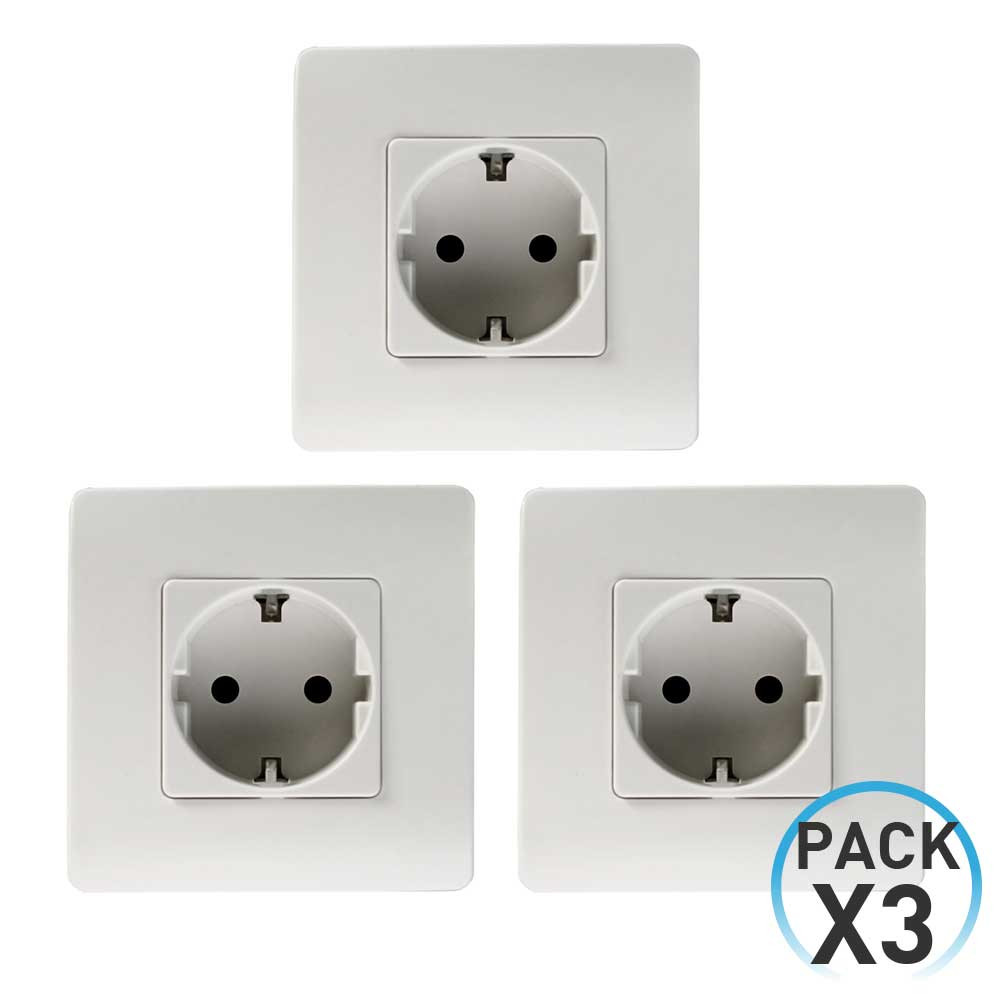 Pack 3 Enchufes Schuko Empotrable Blanco 7hSevenOn Elec