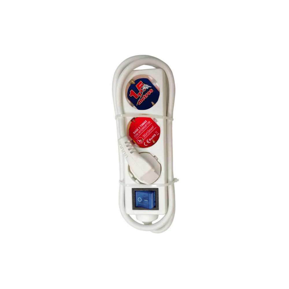 Regleta 3 Enchufes Schuko 1,5m Blanco con Interruptor Azul 7hSevenOn Elec