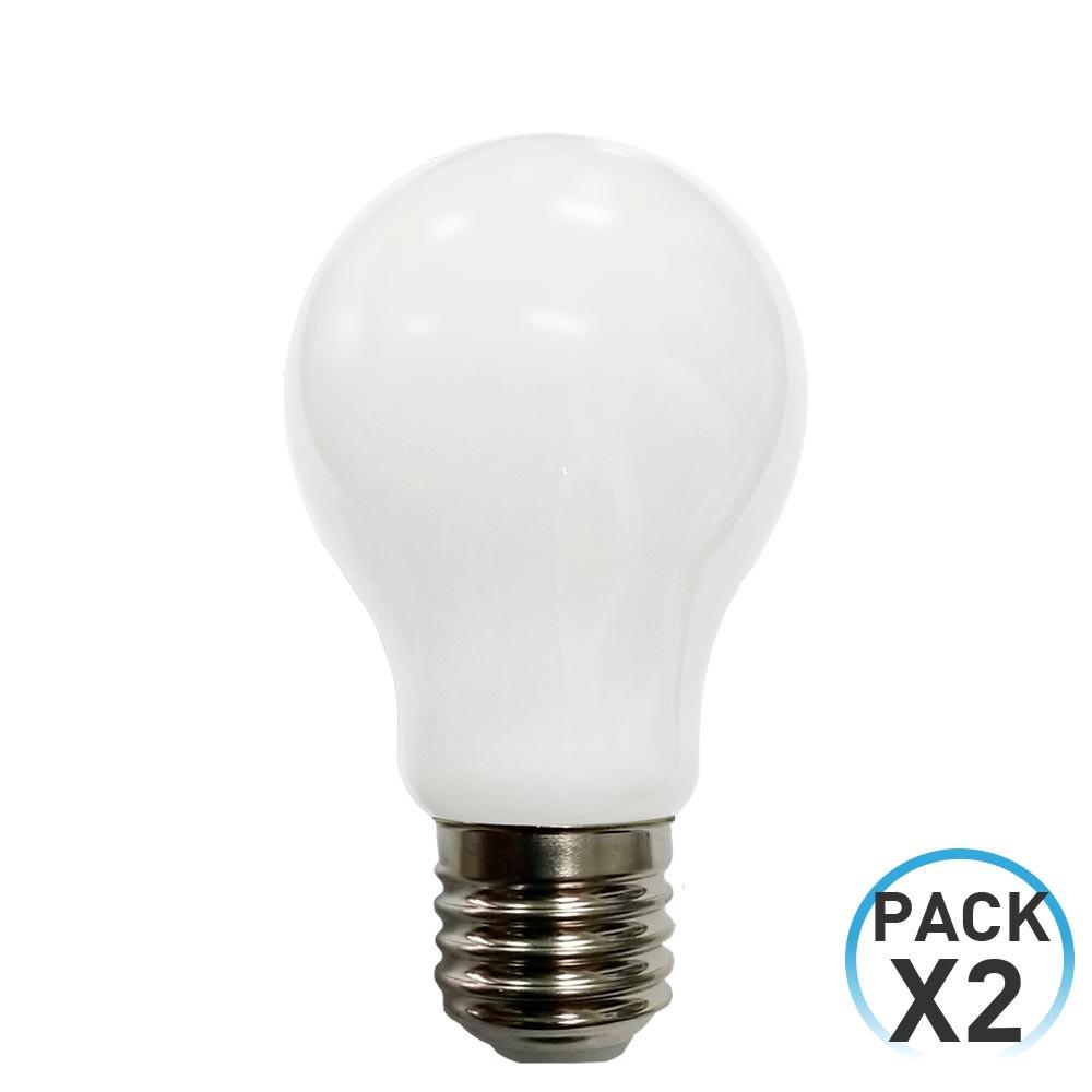 Pack 2 Bombillas LED Filamento Milky Estándar E27 16W Equi.100W 1521lm 4000K 15000H 7hSevenOn