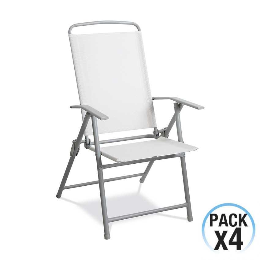 Pack 4 Sillas Plegables de Textil Blanco y Estructura de Acero Gris GH91