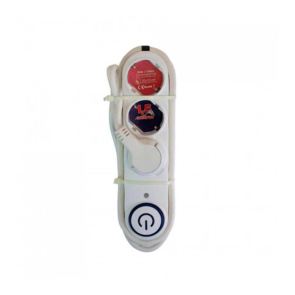 Regleta 3 Enchufes Schuko 2m Blanco con Interruptor 7hSevenOn Elec