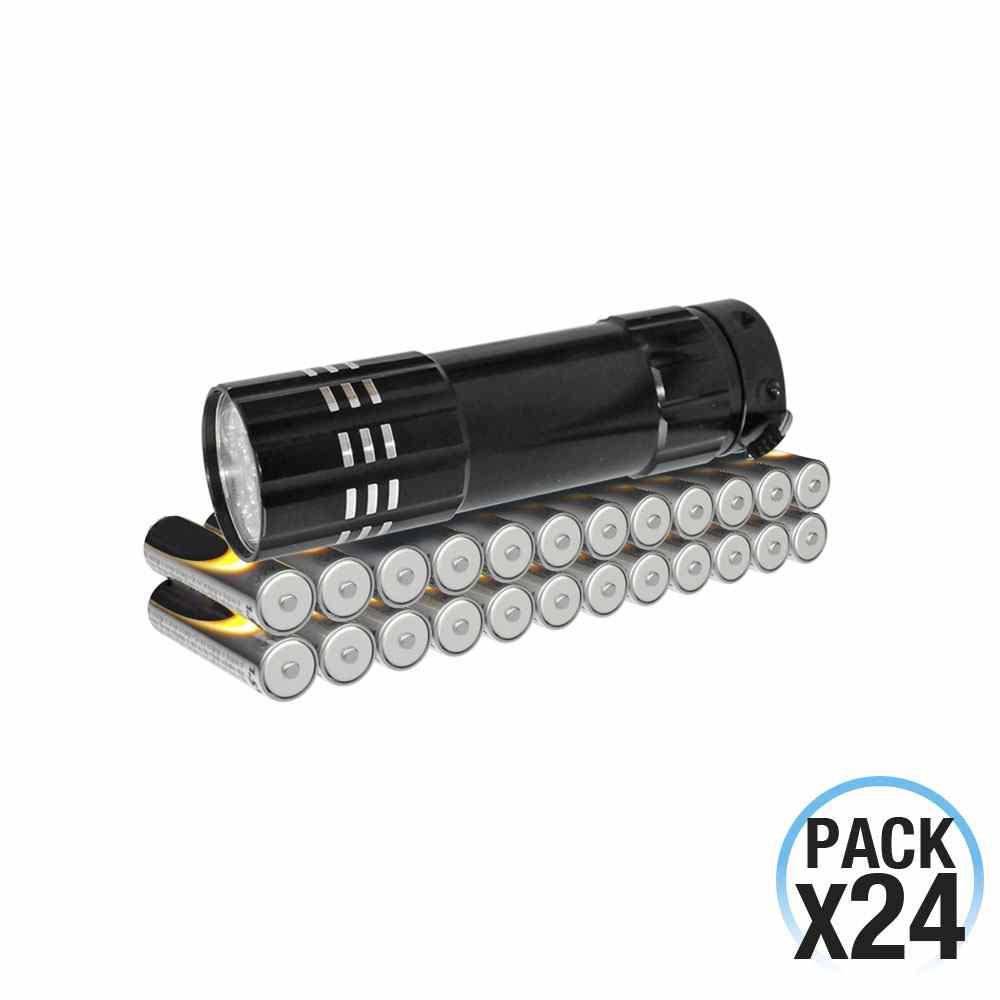 Pack 24 Pilas Alcalinas Estándar Pequeñas 1.5V LR03-AAA y Linterna de regalo 7hDayron