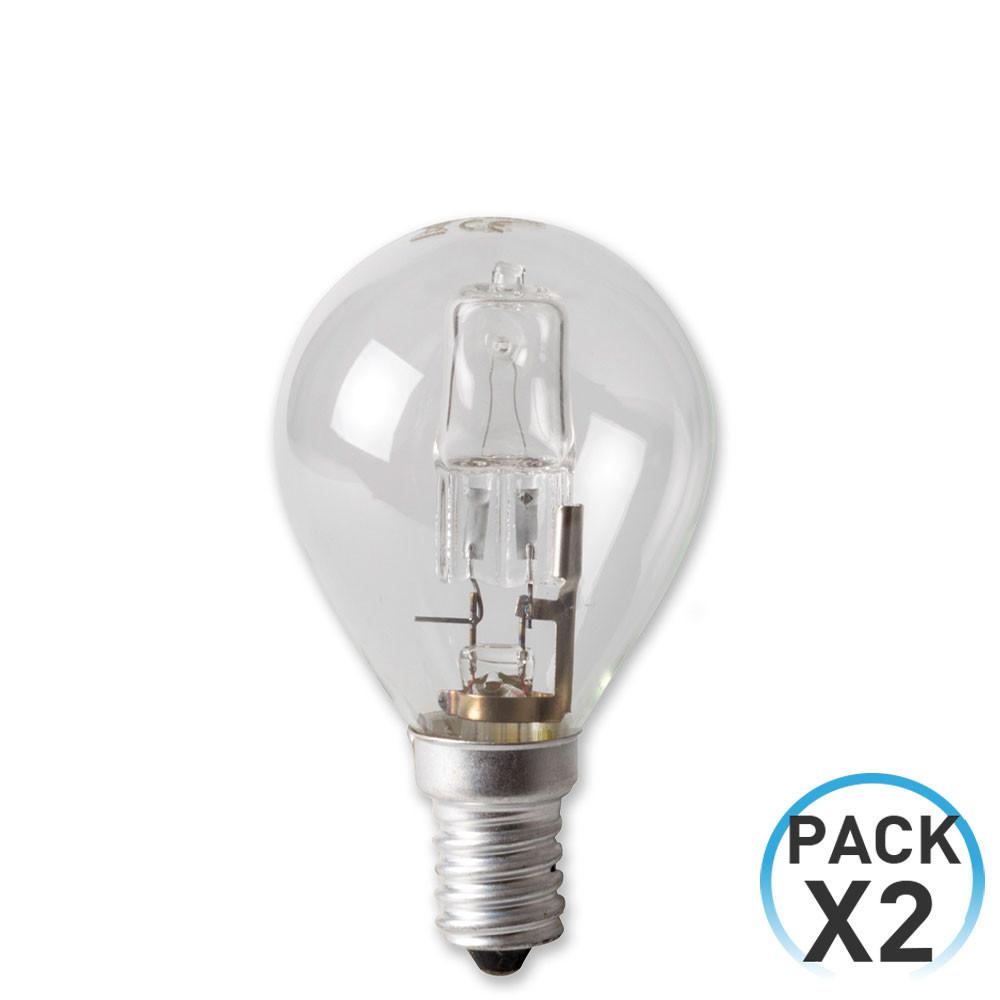 Pack 2 Bombillas Halógenas Esférica E14 42W 700lm Regulables 2900K 1Primer Low Cost